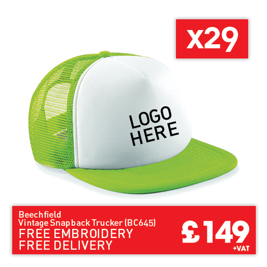 29 Beechfield Vintage snapback trucker for Only £149 (BC645)