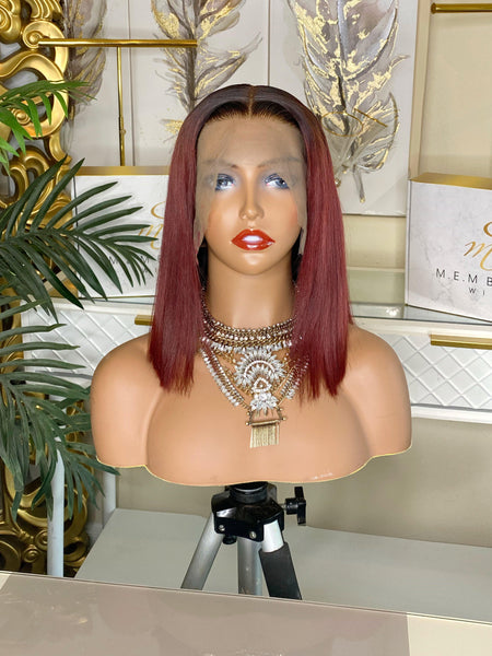 "12"" Custom Colored Frontal wig bob - MEM Beauty Wigs"