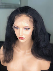 Wig store Houston - lady wearing kinky hair full lace front wig front view