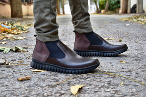 Chelsea Boot Orthopedique Marron Negre