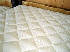 Latex Natural Mattress, detail of stitches that hold wool in place in the cover.