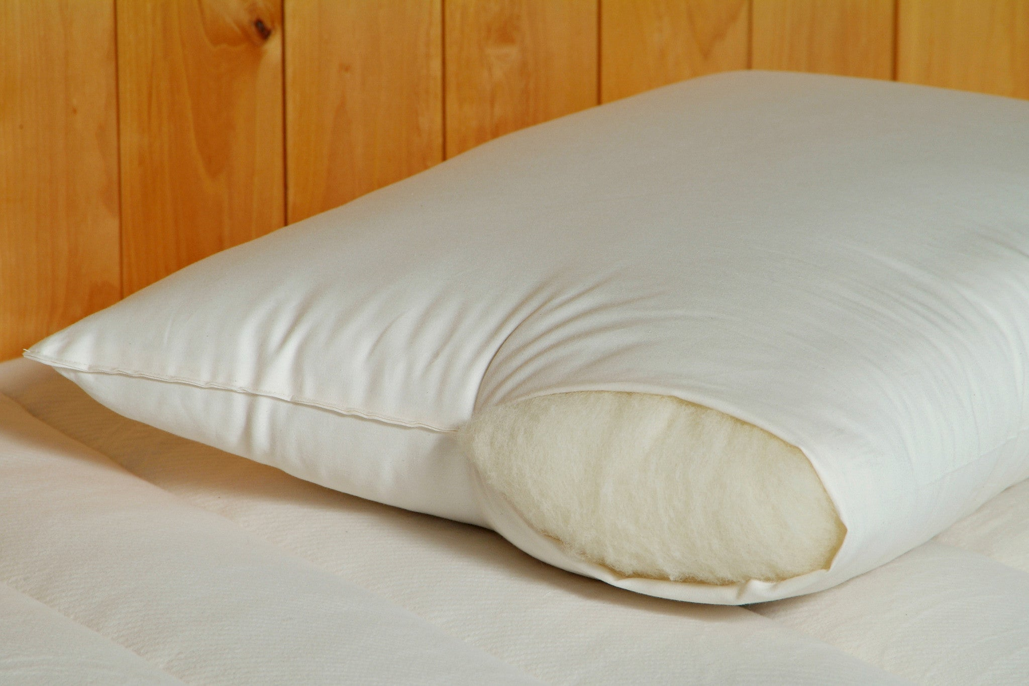 Natural Wool Bed Pillows Breathable Handmade EcoWool Support