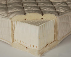 Organic cotton,  Premium Eco-Wool™, and Natural latex layered together in the 7 inch mattress