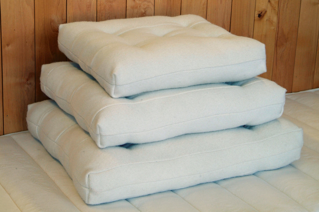 Our wool cushions are made with our wool moisture barrier textile and premium eco wool.