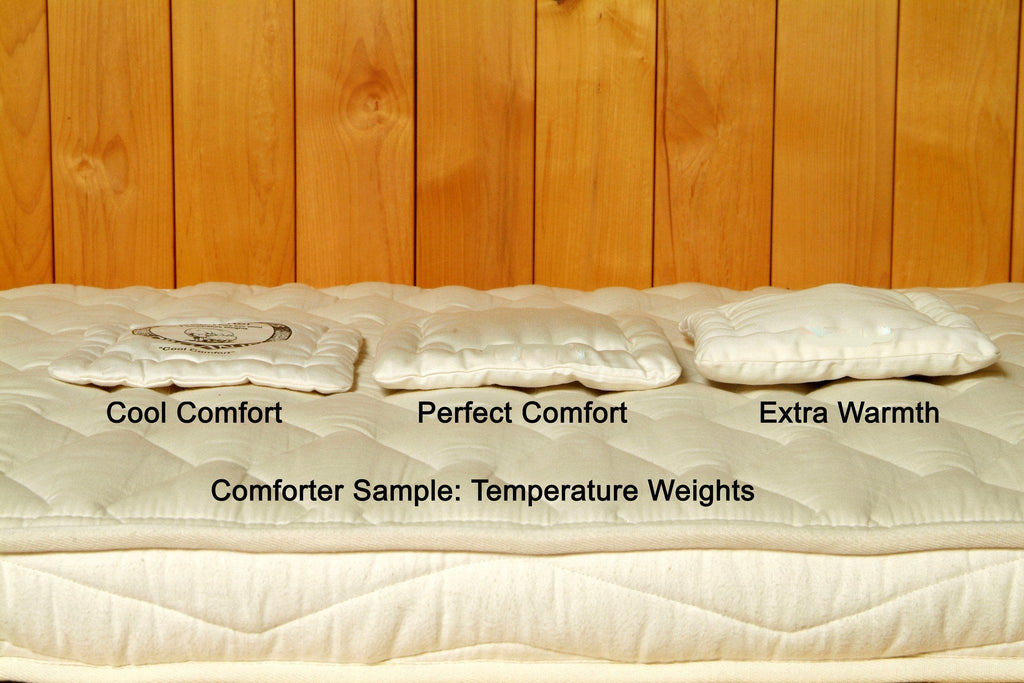 Samples of Wool Comforter in all warmth weights.