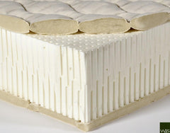 View of cross section of Latex 7 inch mattress with wool that is naturally fire resistant