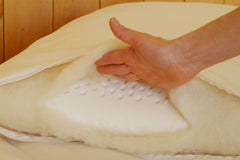 Our Wool Wrapped Latex pillow has a latex layer that is generously wrapped in wool.