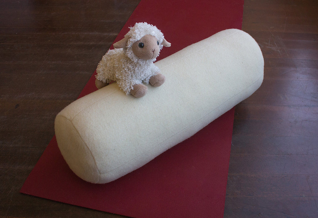 Our yoga bolster is made with our wool moisture barrier textile and stuffed with premium eco wool.