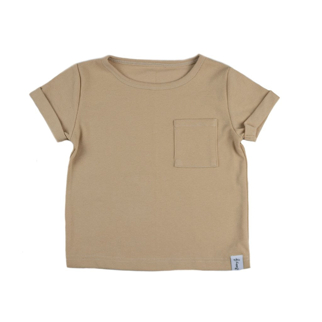 BOX RIBBED TEE - WHEAT