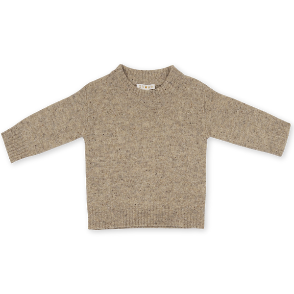 Speckled Merino Pull Over - Stone