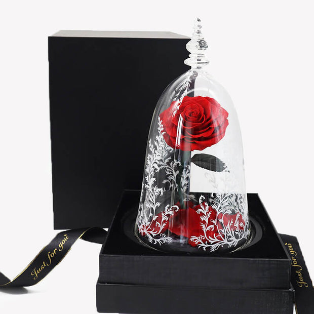 Beauty And The Beast Red Eternal Rose In A Box