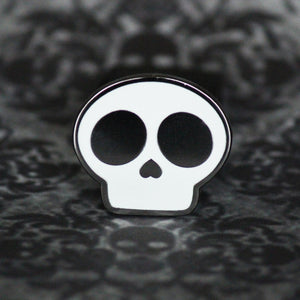 "1"" Hard Enamel Creepy Kawaii Skull Logo Pin"