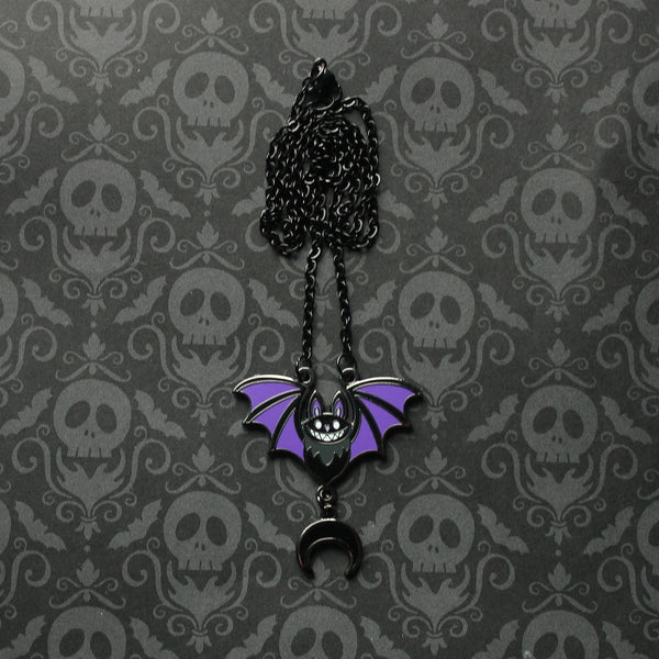 Mini Black Bat with Purple Wings Hard Enamel Necklace