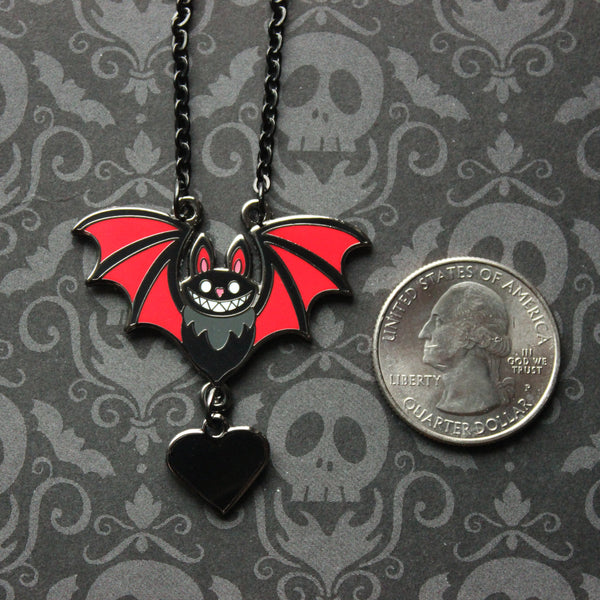 Mini Black Bat with Red Wings Hard Enamel Necklace