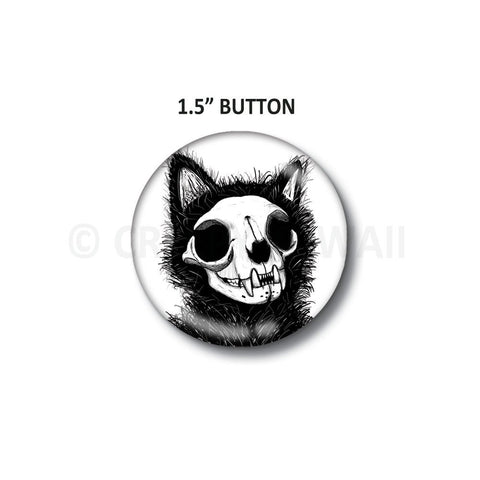 "Cat Skull - 1.5"" Button"