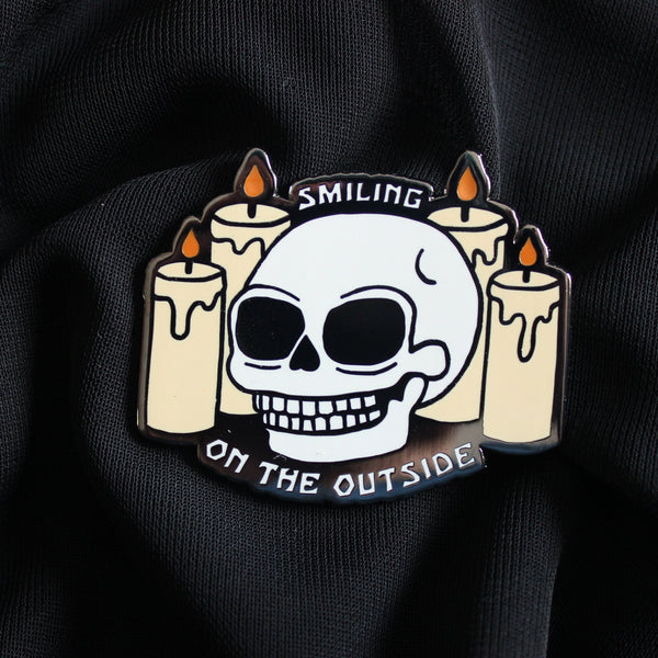 "2"" Hard Enamel Pin Smiling on the Outside"