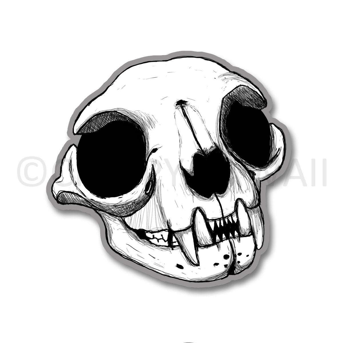 Cat Skull - 3 Inch Weatherproof Vinyl Sticker