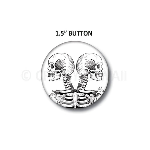 "Twin Skulls - 1.5"" Button"