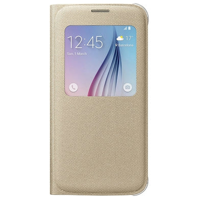 SAMSUNG CUSTODIA ORIGINALE S VIEW FLIP COVER BOOK CASE GALAXY S6 G920F GOLD  ORO
