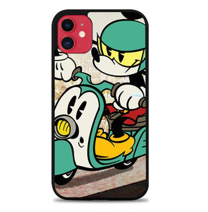 Custodia Cover iphone 11 pro max Mickey Riding a Scooter L3442 Case