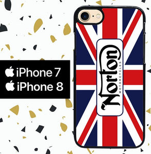 Custodia Cover iphone 7 8 norton motorcycles england flag W4943 Case