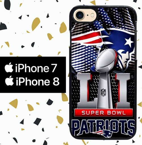 Custodia Cover iphone 7 8 NEW ENGLAND PATRIOTS SUPER BOWL NFL W5363 Case