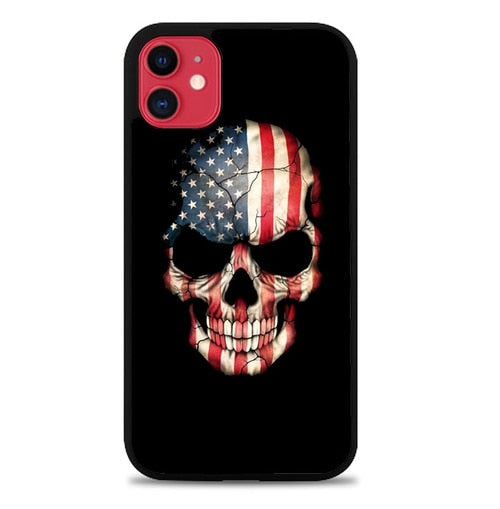 Custodia Cover iphone 11 pro max american flag SKULL W9670 Case