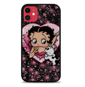 Custodia Cover iphone 11 pro max Betty Boop Love Glitter J1114 Case