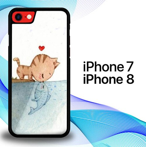 Custodia Cover iphone 7 8 Cat Fish E0761 Case