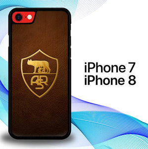 Custodia Cover iphone 7 8 AS Roma Leather Logo Soccer E1056 Case