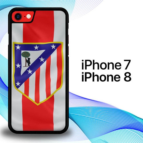 Custodia Cover iphone 7 8 Atletico Madrid Soccer Flag Logo E1063 Case