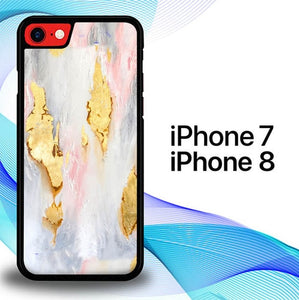 Custodia Cover iphone 7 8 Pastel Marble Gold E1402 Case