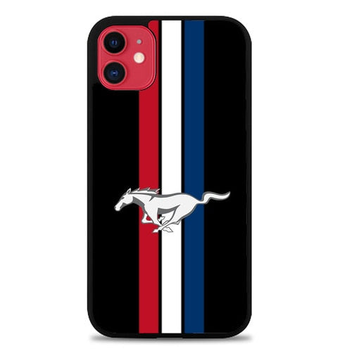 Custodia Cover iphone 11 pro max Mustang Three Strip Logo P2239 Case