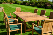 The Bromley Eight Seat Teak Table & Blenheim Stacking Chairs Outdoor Garden Furniture Set