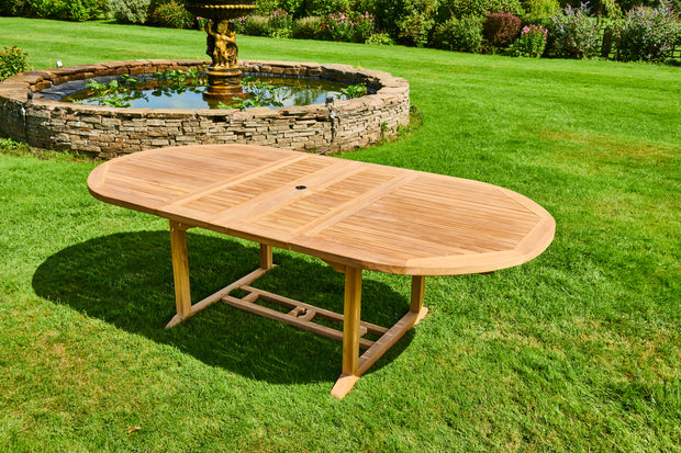 The Westminster Eight Seat Teak Table & Stacking Chairs Outdoor Garden Furniture Set