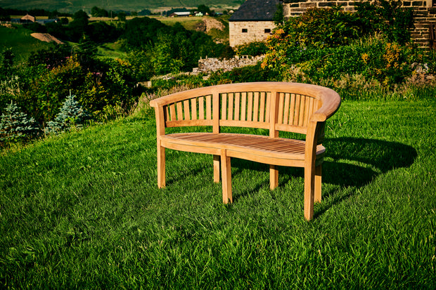 Longleat Banana Three Seat Teak Bench Extra Thick