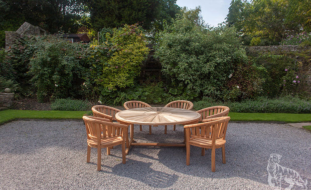Sherringham Six Seat Teak Round Table & Chair Outdoor Garden Furniture Set