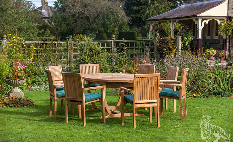 Sherringham Eight Seat Teak Oval Table & Stacking Chair Outdoor Garden Furniture Set