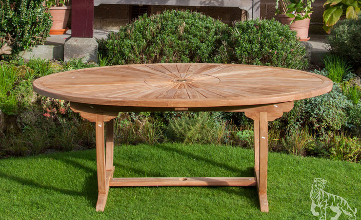 Sherringham Eight Seat Teak Oval Table and Stacking Chair Outdoor Garden Furniture Set
