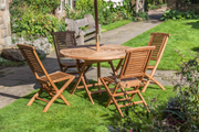 Goodwood Four Seat Teak Table & Folding Chair set