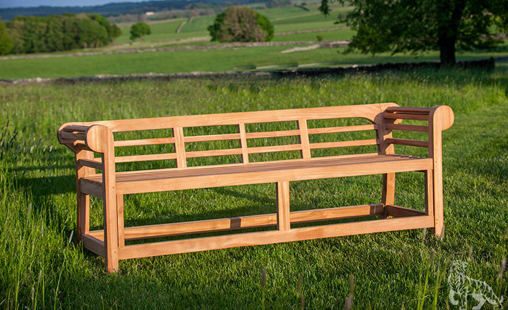 Sissinghurst Lutyens Three Seat Teak Bench Low Back