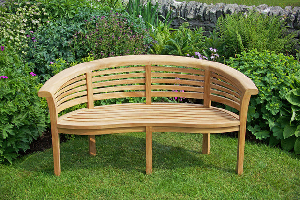 Longleat Banana Three Seat Wave Teak Bench Extra Thick