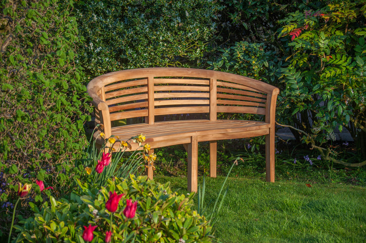Longleat Banana Three Seat Teak Wave Bench