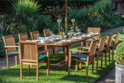 Chartwell Ten Seat Teak Table & Stacking Chair Outdoor Garden Furniture Set