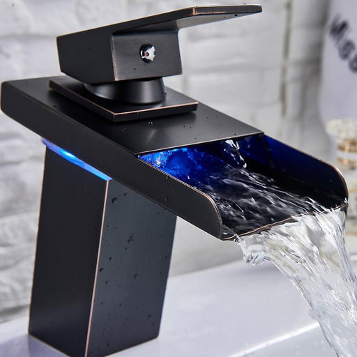 LED Light Waterfall Spout With A Single Handle Basin Faucet Mixer Tap