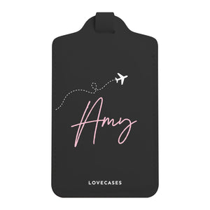 Load image into Gallery viewer, Black Personalised Jet Set Luggage Tag