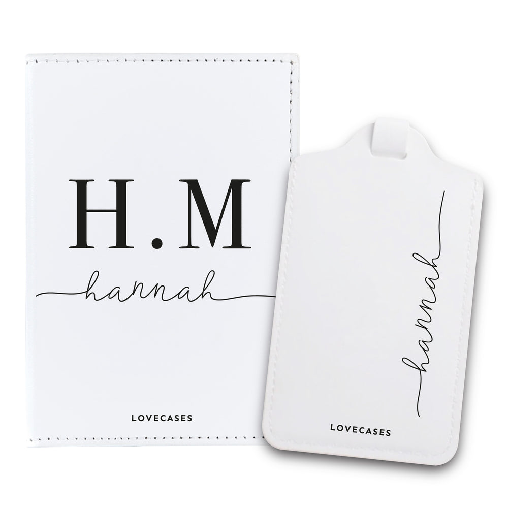 White Personalised Initials Passport Cover & Luggage Tag Bundle