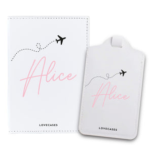 White Personalised Jet Set Passport Cover & Luggage Tag Bundle