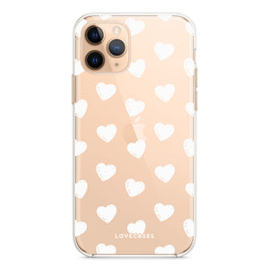 White Hearts Phone Case