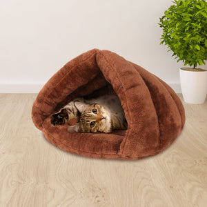 Washable Cave Pet Bed - Brown